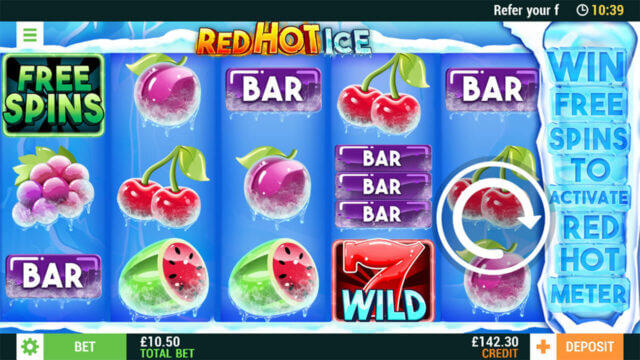 Red Hot Ice online slots at Cashmo Mobile Casino - in game image