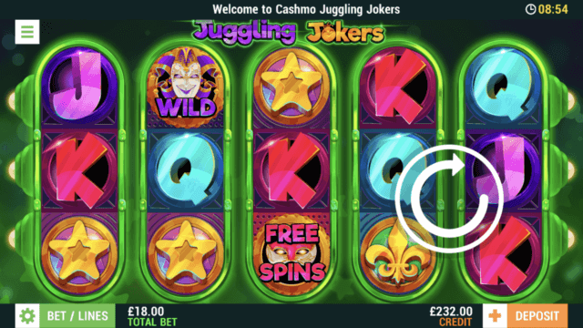Juggling Jokers mobile slots screenshot at Cashmo mobile casino