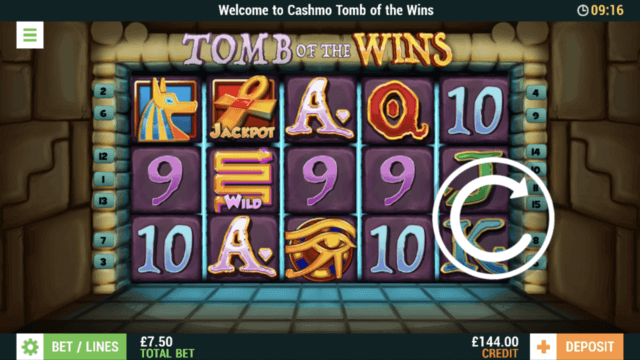Tomb of the Wins mobile slots screenshot at Cashmo mobile casino