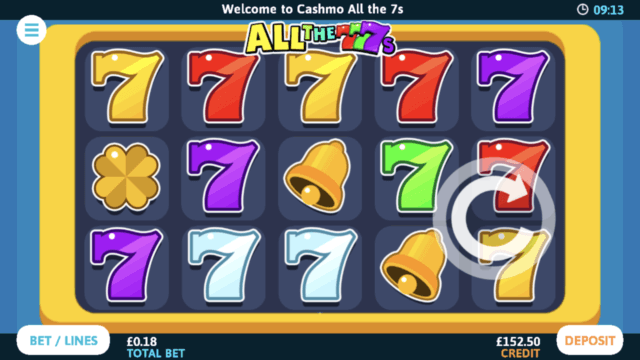 All the 7s mobile slots screenshot at Cashmo mobile casino