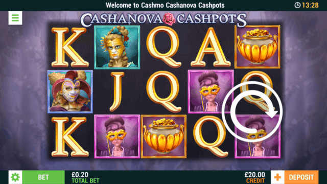 Cashanova Cashpots mobile slots screenshot at Cashmo mobile casino