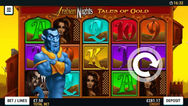 Arabian Nights mobile slots at Cashmo online casino
