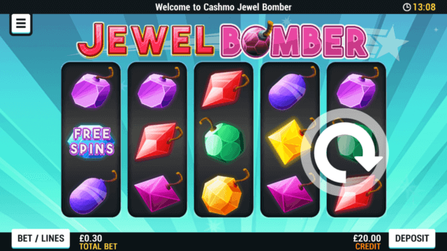 Jewel Bomber mobile slots screenshot at Cashmo mobile casino