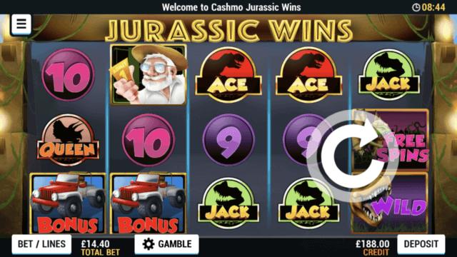 Jurassic Wins mobile slots screenshot at Cashmo mobile casino