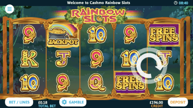 Rainbow Slots mobile slots screenshot at Cashmo mobile casino