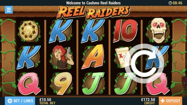 Reel Raiders mobile slots screenshot at Cashmo mobile casino