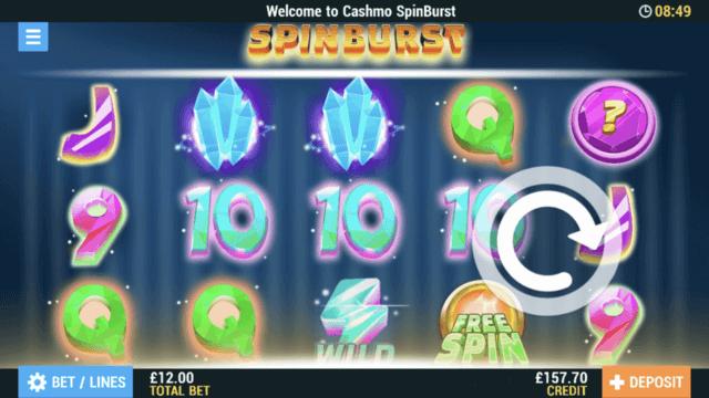 Spinburst mobile slots screenshot at Cashmo mobile casino