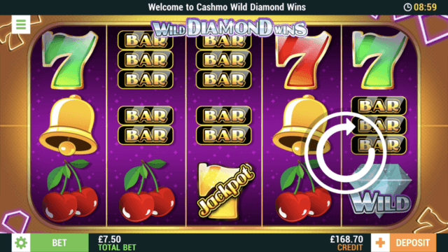 Wild Diamond Wins mobile slots screenshot at Cashmo mobile casino