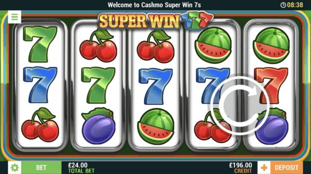 Super Win 7s mobile slots at Cashmo Casino