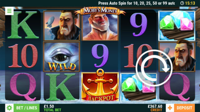 Moby's Money online slots at Cashmo Mobile Casino - in game image