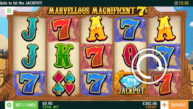 Marvellous Magnificent 7s online slots at Cashmo Mobile Casino - in game image